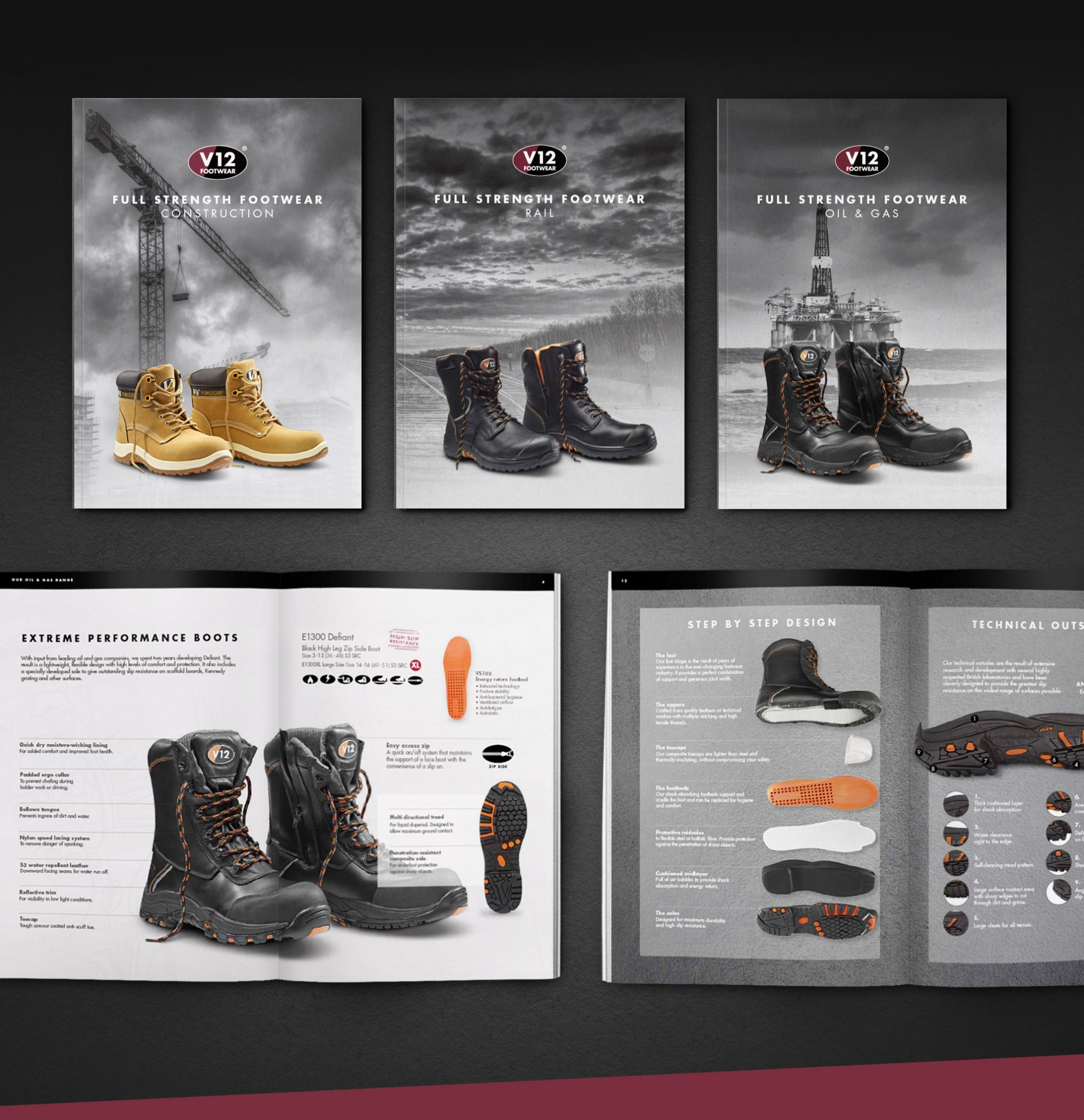 V12 Footwear Catalogue Covers and Spread Design