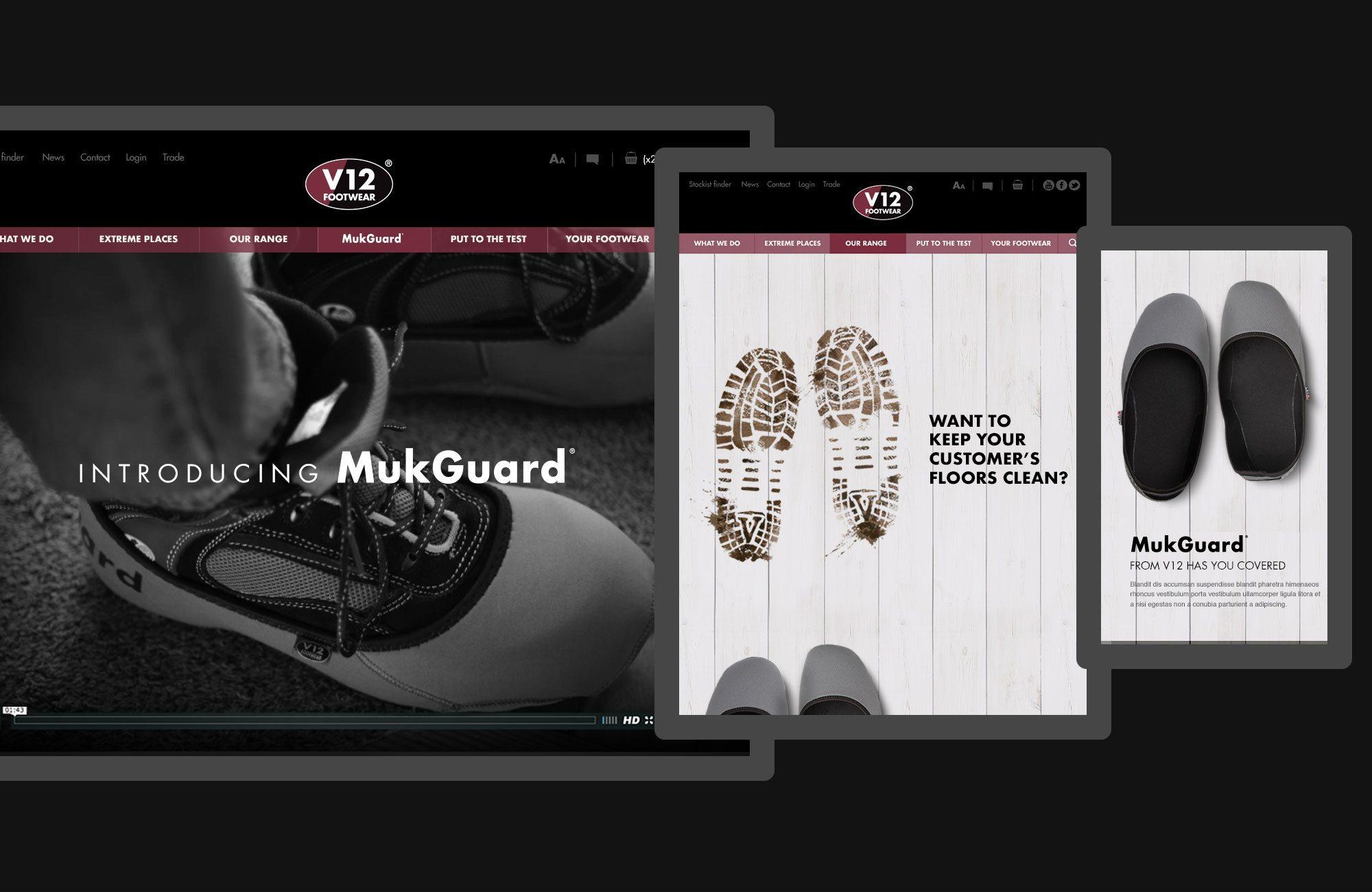 V12 Footwear MukGuard Website Design