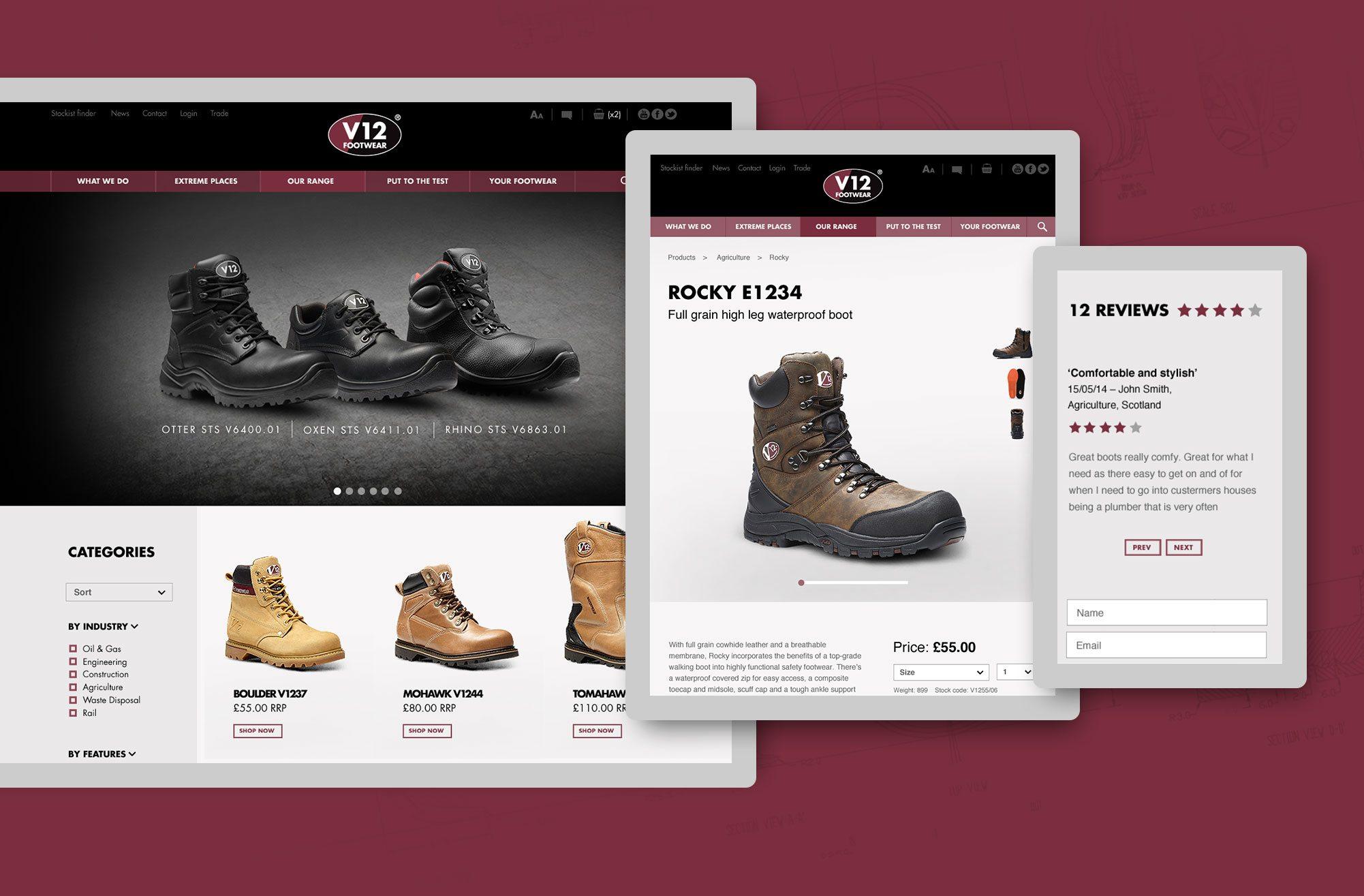 V12 Footwear Responsive Website Design