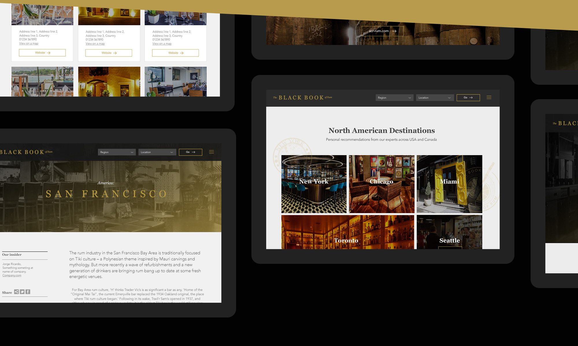 Black Book Of Rum Website Page Designs
