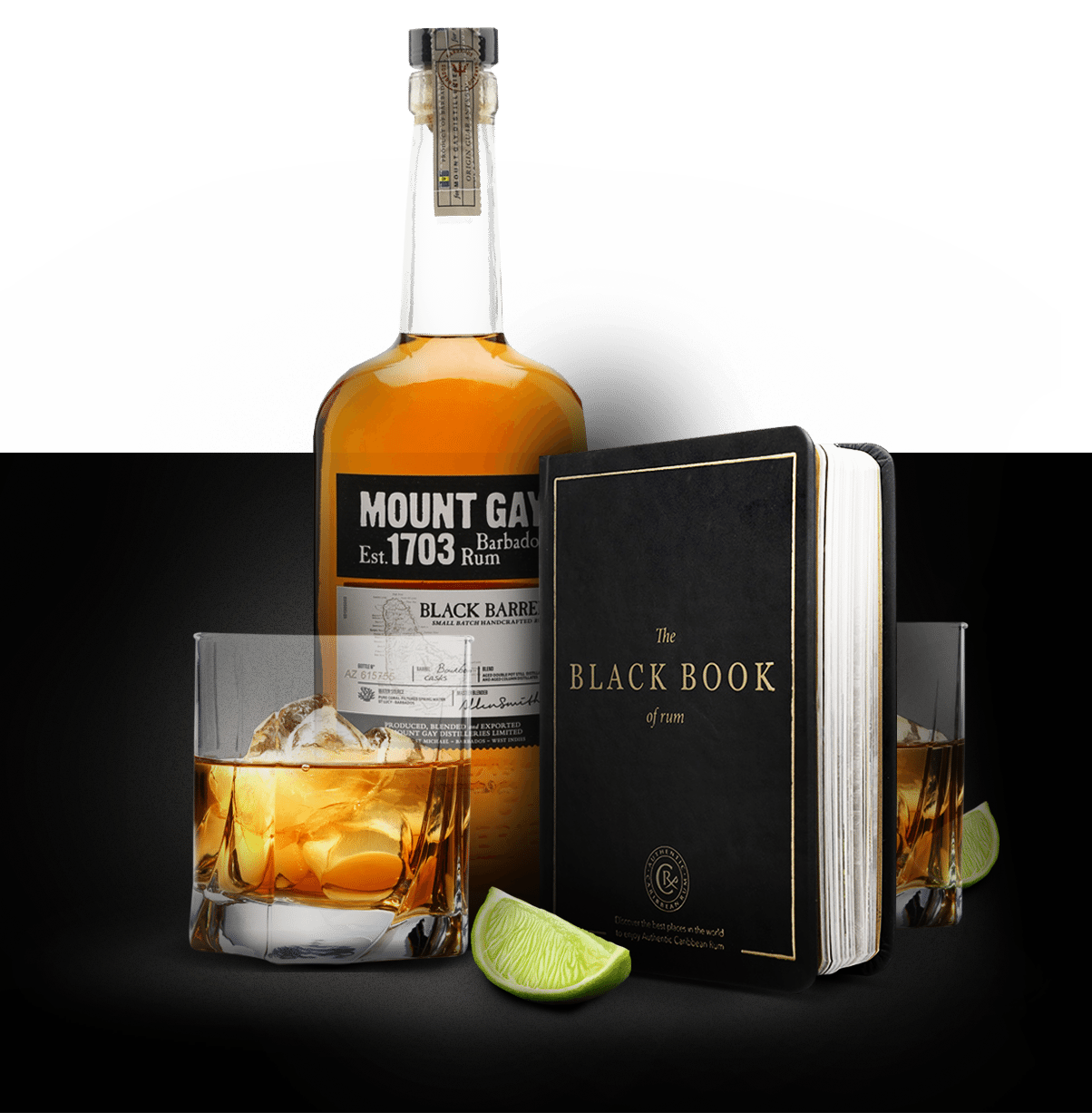 Black Book Of Rum and Mount Gay Rum Bottle